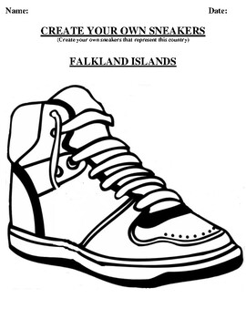 FALKLAND ISLANDS Design your own sneaker and writing worksheet