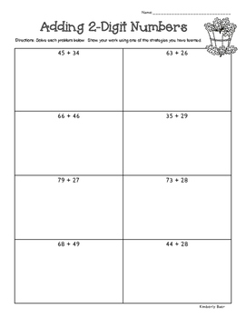 FALL 2-Digit Additon and Subtraction Practice Worksheet PA