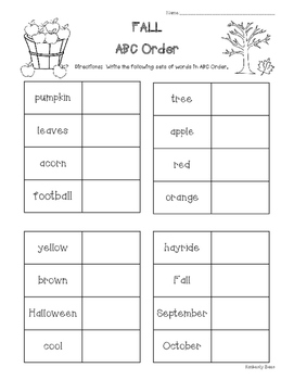 FALL ABC Order Practice Worksheet