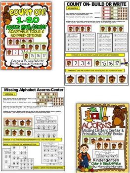 ACORNS Literacy & Math Activities for kindergarten- FALL ACTIVITIES