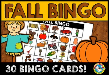 FALL ACTIVITIES: FALL BINGO GAME FOR WHOLE CLASS: AUTUMN V