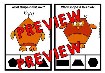 FALL ACTIVITIES KINDERGARTEN (OWL SHAPES RECOGNITION CLIP CARDS)