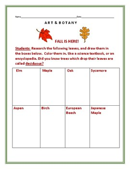FALL: AN ART LEAF BOTANY ACTIVITY, GRADES 2-5