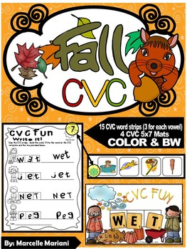 FALL-AUTUMN- CVC Center Activity- Build it, Stamp it, Write it (COLOR+BW)
