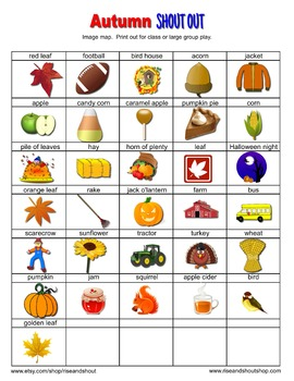 FALL AUTUMN SHOUT OUT; vocabulary; Spot the Match Game; 2 sizes, circle/square