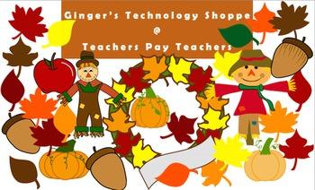 FALL / AUTUMN clip art!  Leaves!  Scarecrows!  Pumpkins!  Apple!  Acorn!