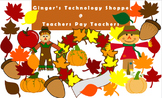 FALL / AUTUMN clip art!  Leaves!  Scarecrows!  Pumpkins!  Apple!  Acorn!