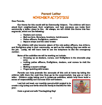 FALL Activities : Community Helpers: Monthly Thematic Unit