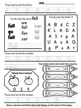 FALL Activities Kindergarten and 1st Grade with Literacy, Math & Crafts
