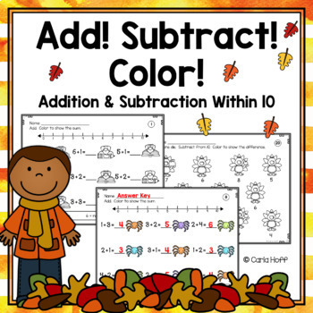 FALL Addition and Subtraction Within 10 Worksheets - Add! Subtract ...
