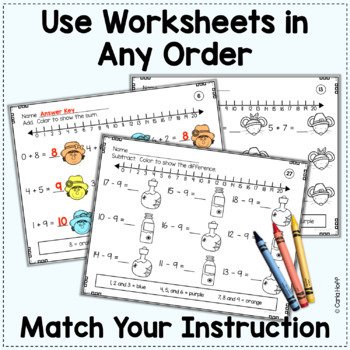 fall addition subtraction worksheets add subtract color to 20. Black Bedroom Furniture Sets. Home Design Ideas