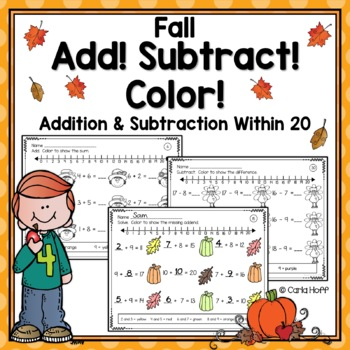 FALL Addition and Subtraction Worksheets - Add! Subtract! Color ...