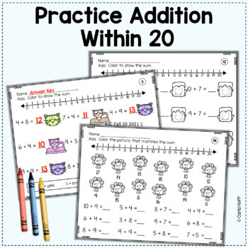 FALL Addition and Subtraction Worksheets - Add! Subtract! Color! Within 20