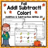 FALL Addition and Subtraction Within 20 - Worksheets with Number Lines