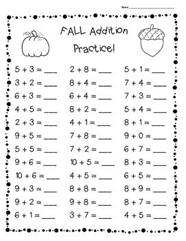 FALL Addition Practice Worksheet Pack - 3 Leveled Sheets for Back to School!