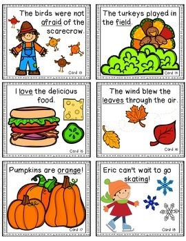 FALL Adjectives, Nouns, and Verbs Game and Worksheets