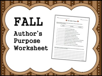 FALL Author's Purpose Worksheet