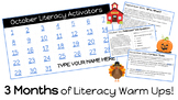 FALL BUNDLE!! 92 DAY of Daily Literacy Warm-Ups/Activators