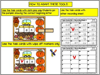 Beginning Sounds literacy center-Fill in the missing beginning sound or clip