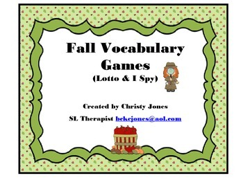 FALL VOCABULARY Lotto & I Spy Games for K and First Grade