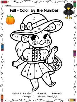 fall and halloween activities color by the number math worksheets. Black Bedroom Furniture Sets. Home Design Ideas