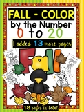 FALL and HALLOWEEN Activities - Color by the Number - Math Worksheets