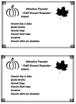 FALL CONCERT PARENT REMINDER (editable flyer and PDF printable format)