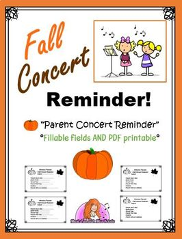 FALL CONCERT PARENT REMINDER (editable flyer and PDF printable format)