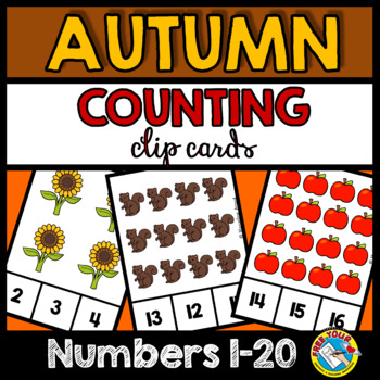 FALL COUNTING TO 20 TASK CARDS (KINDERGARTEN MATH CENTERS)