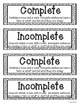 FALL Complete and Incomplete Sentence Sort