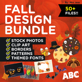 FALL THEME DESIGN BUNDLE! Stock Photos, Clip Art, Patterns, Borders, and Fonts!