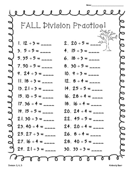 FALL Division Practice Worksheet Pack - 4 Leveled Worksheets for Back to School!