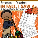 FALL Emergent Reading Practice - 12 Cut and Paste Sentences FREE
