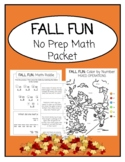 FALL FLUN Remote Learning Back To School Math Packet