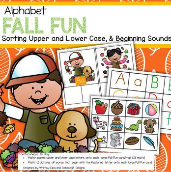 FALL FUN Alphabet Centers Upper and Lower Case, Beginning Sounds