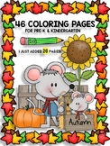 FALL HALOWEEN FUN - COLORING PAGES FOR PRE-K TO 1st GRADE - 46 PAGES