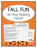 FALL FUN: Remote Learning No Prep Reading Packet
