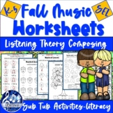Distance Learning FALL MUSIC FUN K-5 Note Reading, Colorin