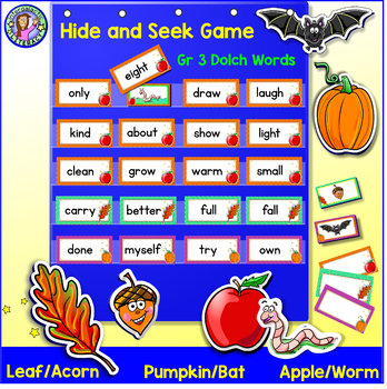 Grade 3: FALL Dolch Sight Word Cards/Pocket Chart Game