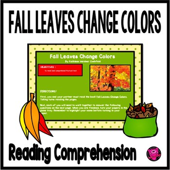 FALL LEAVES ELA and SCIENCE ACTIVITIES