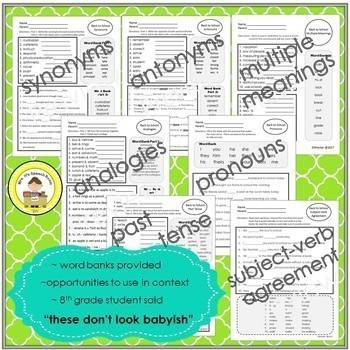FALL Language and Vocabulary Printables for Middle School Speech Therapy & ESL
