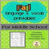 FALL Language and Vocabulary Printables for Middle School Speech Therapy