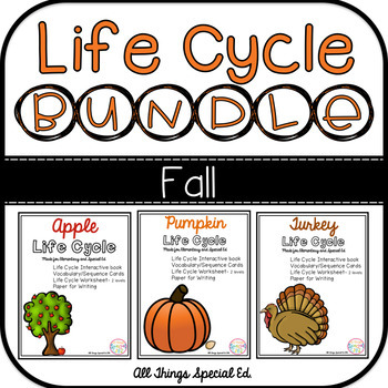 FALL Life Cycle BUNDLE - Apple, Pumpkin and Turkey interactive book