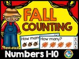 FALL ACTIVITIES KINDERGARTEN COUNTING 1-10 GAME (AUTUMN MATH CENTER PRESCHOOL)