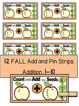 FALL- MATH CENTER- Add and Pin (1-10 and 10's &1's) Color+Black/White