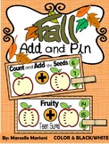 APPLES ADDITION MATH CENTER- Add and Pin (1-10 and 10's &1's) Color & bw