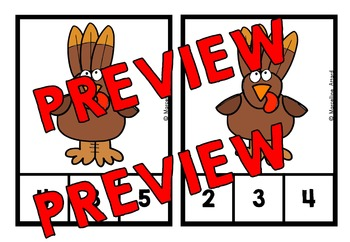 FALL MATH CENTER: THANKSGIVING COUNTING CLIP CARDS: TURKEY COUNTING CENTER