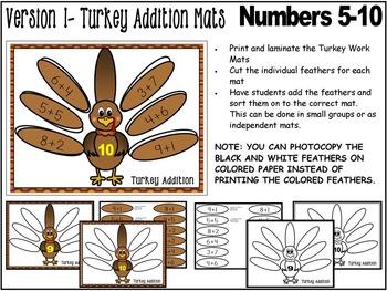 FALL ADDITION MATH CENTER-TURKEY MATH CENTRE ACTIVITY