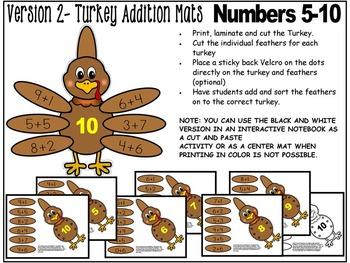 TURKEY MATH CENTRE ACTIVITY- TURKEY THEME ADDITION  CENTER