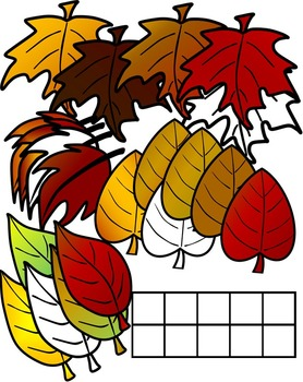 FALL MATH CLIPART GRAPHICS-LEAVES TEN FRAMES- COMMERICAL USE